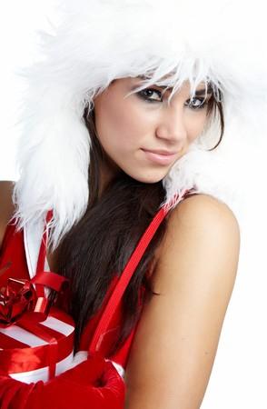 winter girl with christmas gift Stock Photo - 7946696