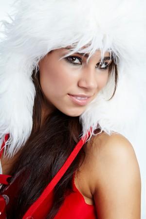 chica de invierno con regalo de Navidad  Foto de archivo - 7946697