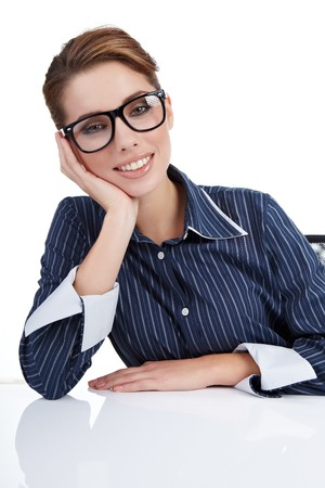 Young happy businesswoman isolated over white background  Stock Photo - 7946709