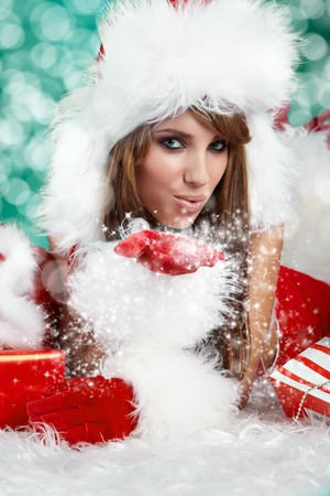Portrait of beautiful sexy girl wearing santa claus clothes Stock Photo - 8123321