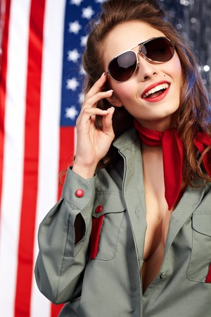 Sexual pinup woman in military clothing photo