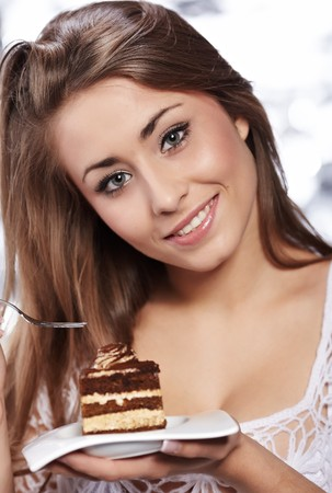 woman hold cake  photo