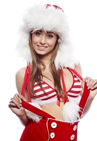 dona: mujer sexy vestida con traje de Navidad rojo