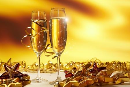 apporter: Champagne verres de pr�ts � porter de la nouvelle ann�e