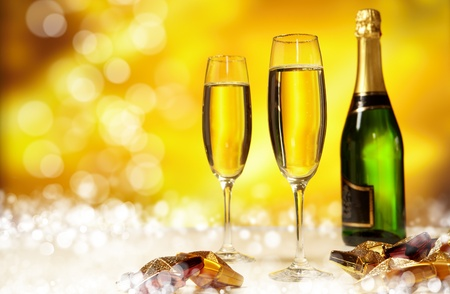 Champagne glasses ready to bring in the New Year  Stock Photo - 8261903
