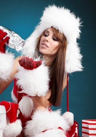 beautiful sexy girl wearing santa claus clothes  Stock Photo - 8356656