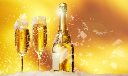 New Year champagne in the snow  photo