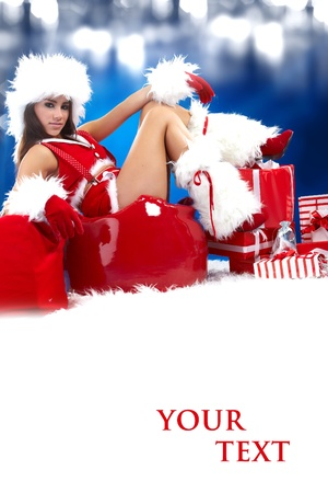 christmas woman with gifts box Stock Photo - 8357119