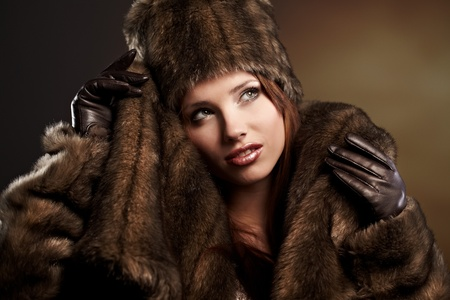beautiful woman in a fur coat  Stock Photo - 8539696