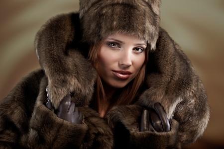 beautiful woman in a fur coat Stock Photo - 8539709
