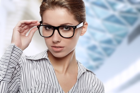 Woman Wearing Glasses in office background photo