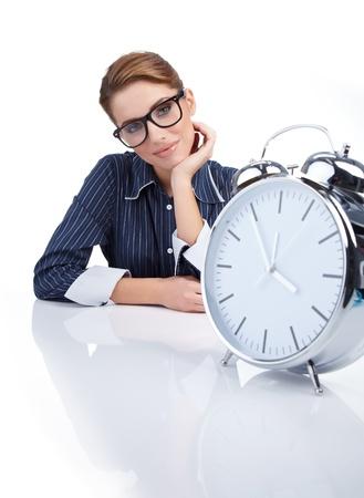 woman clock: Foto de mujer con gran reloj sobre blanco
