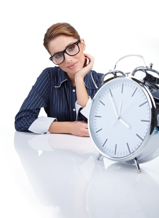 picture of woman holding big clock over white  Stock Photo - 8539684