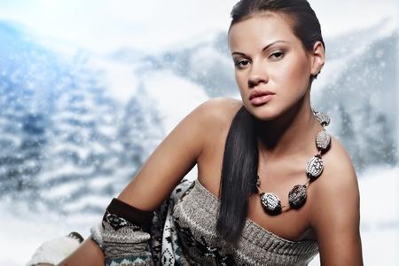 Winter woman on snow  photo