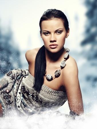 Winter wild woman on snow