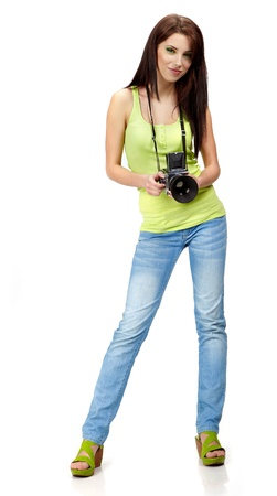 photographers: Beautiful young woman with camera.