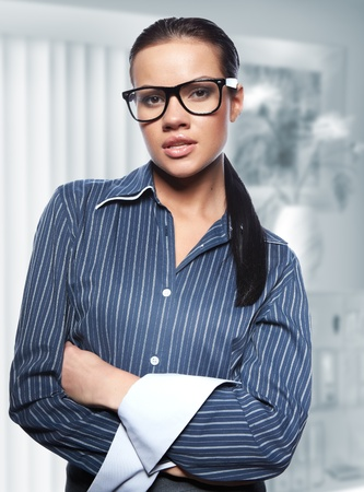 Closeup portrait of cute young business woman Stock Photo - 8704504