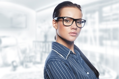 Closeup portrait of cute young business woman Stock Photo - 8704497