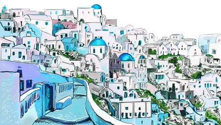 Drawing to the greek town  photo