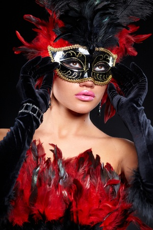 jester: young sexy woman in violet party half mask. may be use for fashion makeup concept