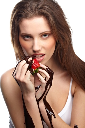 portrait of beautiful woman with a chocolate desert photo