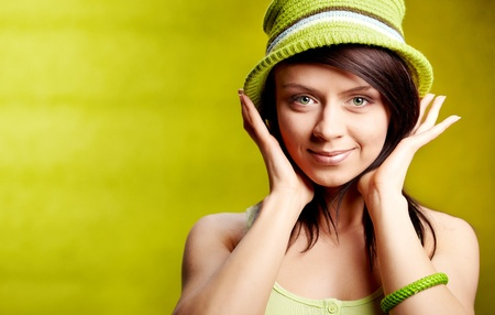 Beautiful spring woman portrait. green concept  photo