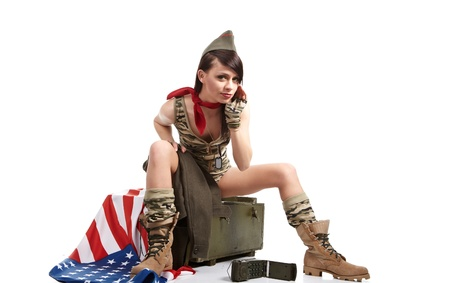 american pin-up army girl photo