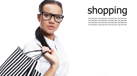 bright center: Isolated Shopping woman