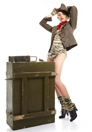 Beautiful young army pin up model  photo