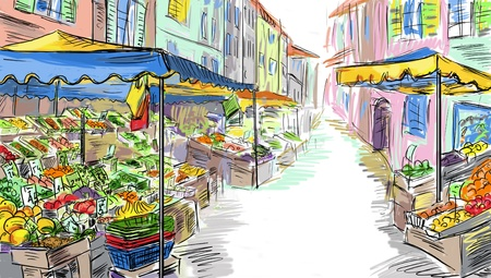 inexpensive: Fruits and vegetables shoping.Illustration