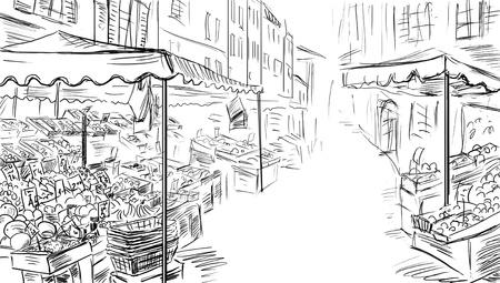 inexpensive: Fruits and vegetables shoping.Illustration sketch