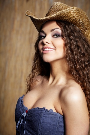 hat nude: sexy woman with cowboy hat
