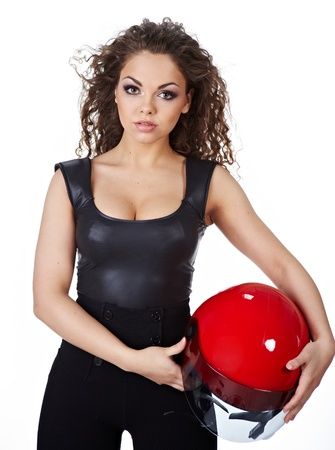Beautiful sexy woman with stylish makeup and biker helmet  photo