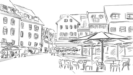 drawn illustration  to the old town  illustration