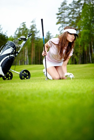 teen golf: Un golfista de mujer bonita