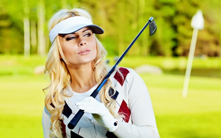 beauty blonde girl play golf Stock Photo - 9614151
