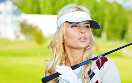 beauty blonde girl play golf  Stock Photo