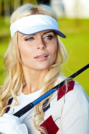beauty blonde girl play golf  Stock Photo - 9614133