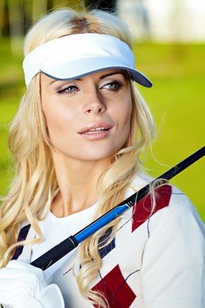 beauty blonde girl play golf Stock Photo - 9614133