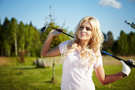 beauty blonde girl play golf Stock Photo - 9614141