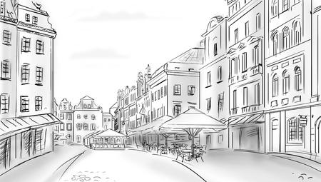restaurant exterior: old town - illustration sketch  Stock Photo