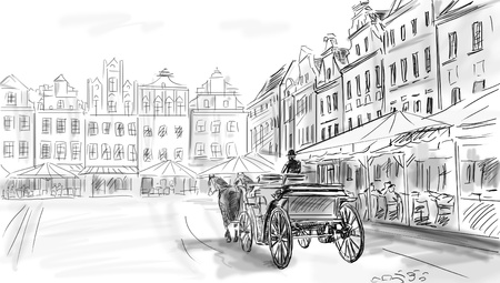 old town - illustration sketch  illustration