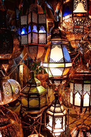 morocco: lamps in a store in marrakesh morocco