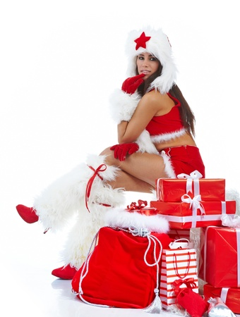 beautiful sexy girl wearing santa claus clothes  photo
