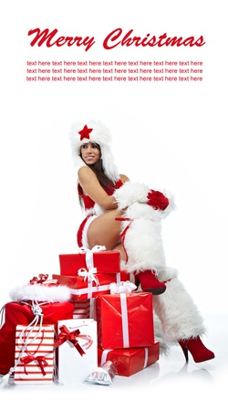 beautiful sexy girl wearing santa claus clothes  Stock Photo - 9867841