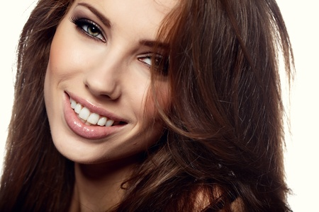 smile close up: Glamour Portrait of sexy woman Stock Photo
