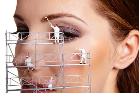 woman eyeball: Make up painters Stock Photo