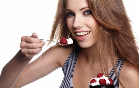 Woman Eating sweet dessert Stock Photo - 9986485