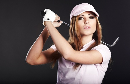 Golf Player Woman. studio  shot photo