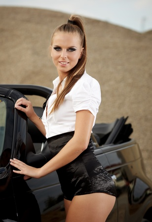 sexy office girl: Fashion  vintage woman with cabrio car